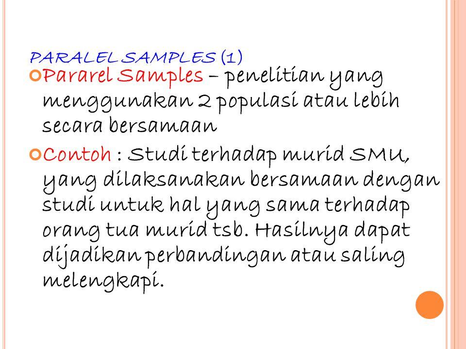 43 PARALEL SAMPLES (1) Pararel Samples – penelitian yang menggunakan 2 populasi atau lebih secara bersamaan Contoh : Studi terhadap murid SMU, yang di