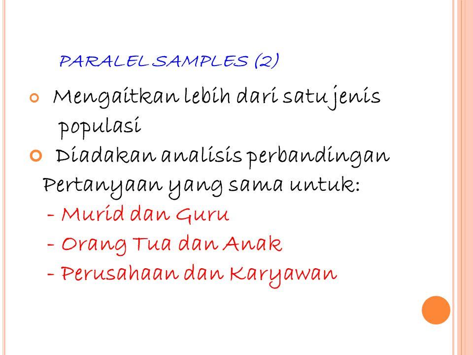 44 PARALEL SAMPLES (2) Mengaitkan lebih dari satu jenis populasi Diadakan analisis perbandingan Pertanyaan yang sama untuk: - Murid dan Guru - Orang T