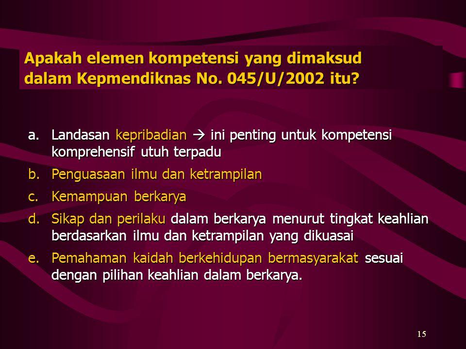 14 Mengapa diperlukan kompetensi utama, pendukung dan kompetensi lain dalam kurikulum perguruan tinggi di Indonesia ? a.Memberikan kemampuan adaptasi