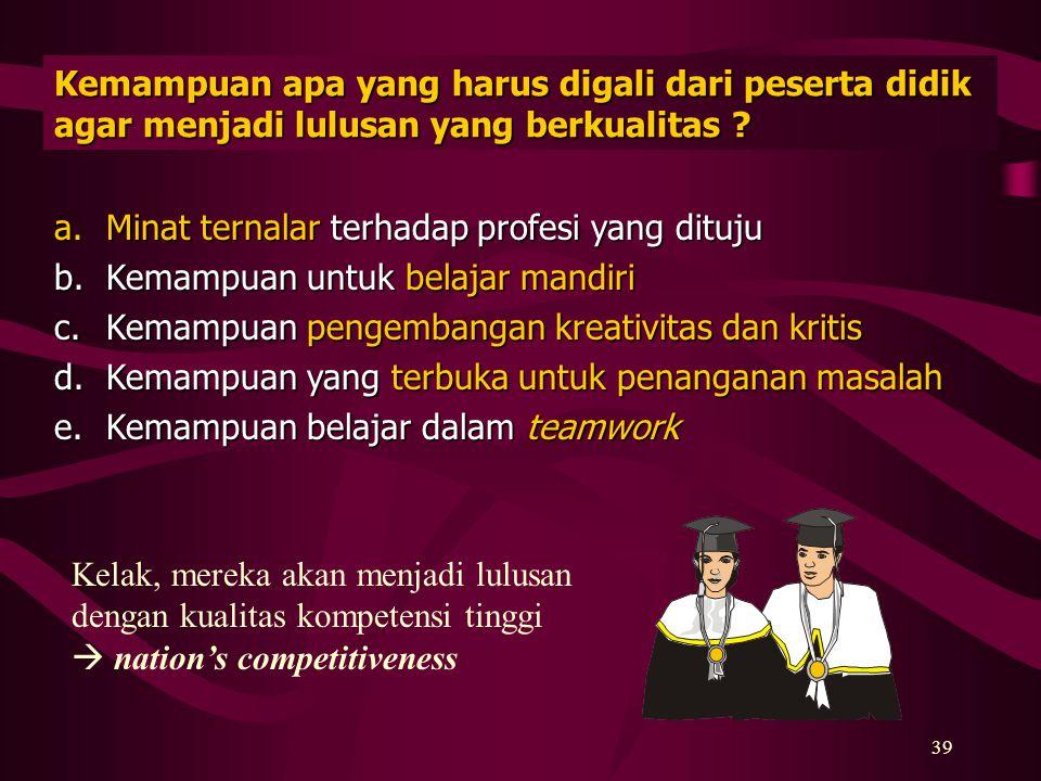 38 Apa yang harus dimiliki dosen agar berhasil menjalankan KBK ? a.naluri untuk memotivasi mahasiswa ke arah kemajuan melalui perilaku dan sikap ketau