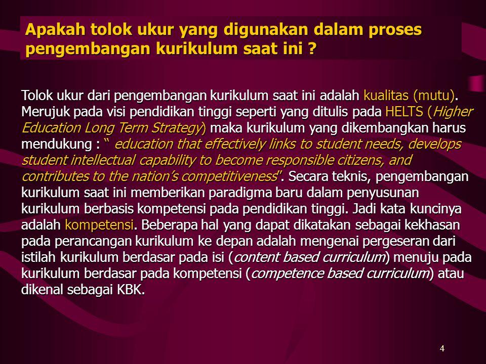 3 Apakah saat ini Depdiknas atau Ditjen Dikti mengeluarkan Kurnas yang dapat digunakan sebagai standar kurikulum program studi PT di Indonesia ? Depdi