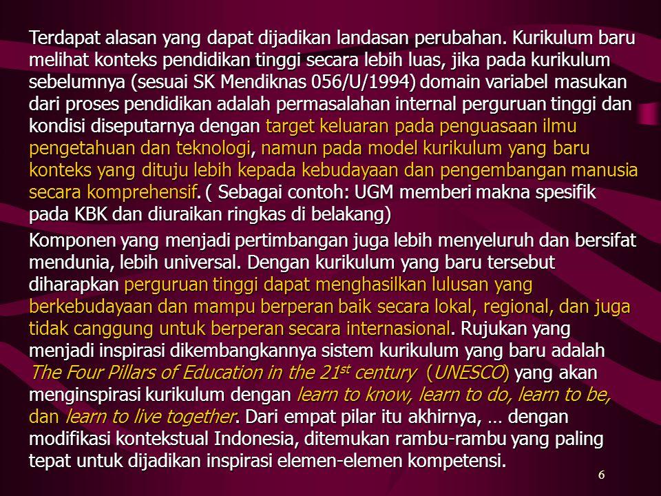 5 Nampaknya memang ada perbedaan istilah pada sistem kurikulum baru yang berdasar pada SK Mendiknas No.232/U/2000 dan No. 045/U/2002 tersebut, perbeda