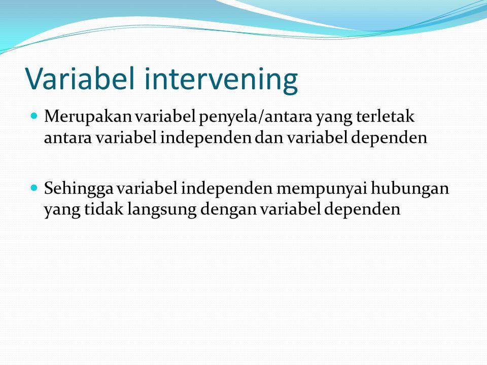 Variabel intervening Merupakan variabel penyela/antara yang terletak antara variabel independen dan variabel dependen Sehingga variabel independen mempunyai hubungan yang tidak langsung dengan variabel dependen