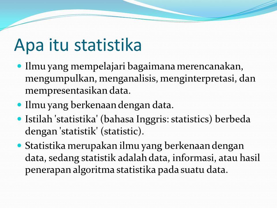 Apa itu statistika Ilmu yang mempelajari bagaimana merencanakan, mengumpulkan, menganalisis, menginterpretasi, dan mempresentasikan data.