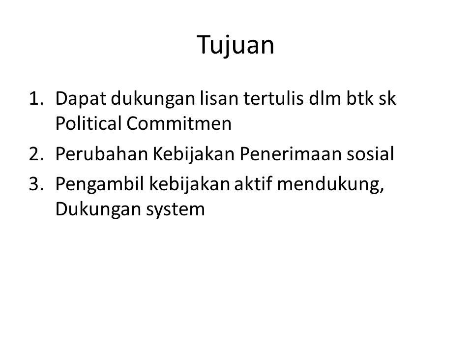 Tujuan 1.Dapat dukungan lisan tertulis dlm btk sk Political Commitmen 2.Perubahan Kebijakan Penerimaan sosial 3.Pengambil kebijakan aktif mendukung, D