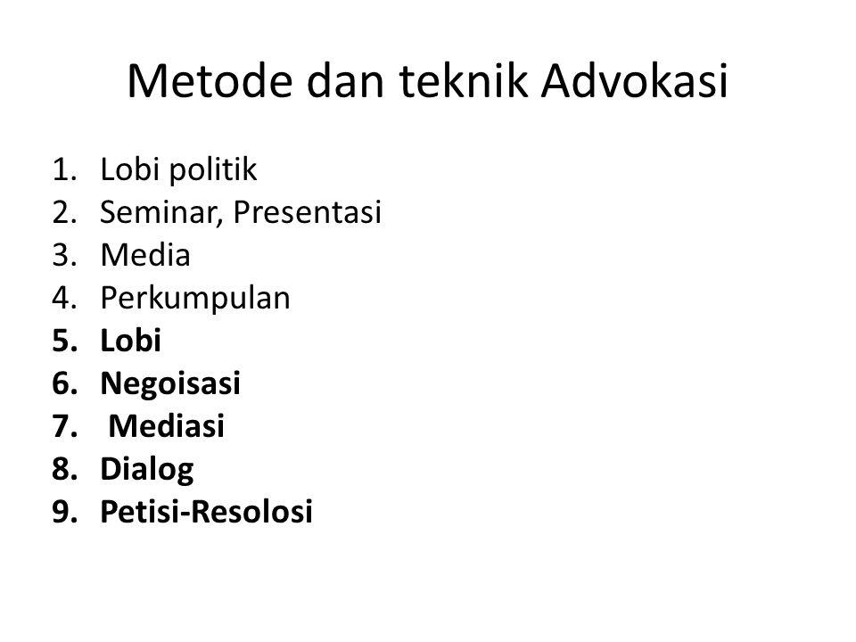 Metode dan teknik Advokasi 1.Lobi politik 2.Seminar, Presentasi 3.Media 4.Perkumpulan 5.Lobi 6.Negoisasi 7. Mediasi 8.Dialog 9.Petisi-Resolosi