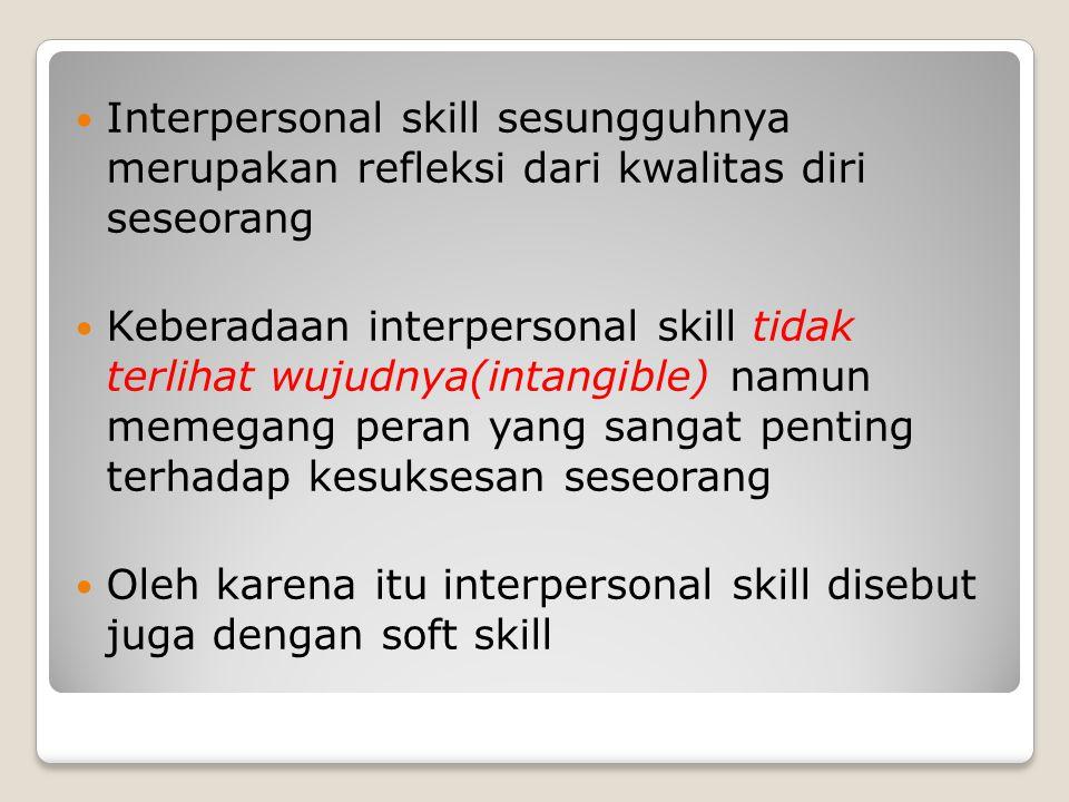 Interpersonal skill sesungguhnya merupakan refleksi dari kwalitas diri seseorang Keberadaan interpersonal skill tidak terlihat wujudnya(intangible) na