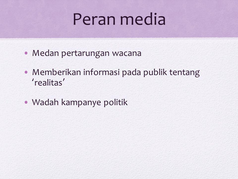 Peran media Medan pertarungan wacana Memberikan informasi pada publik tentang ' realitas ' Wadah kampanye politik