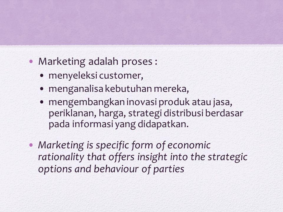 Marketing adalah proses : menyeleksi customer, menganalisa kebutuhan mereka, mengembangkan inovasi produk atau jasa, periklanan, harga, strategi distr