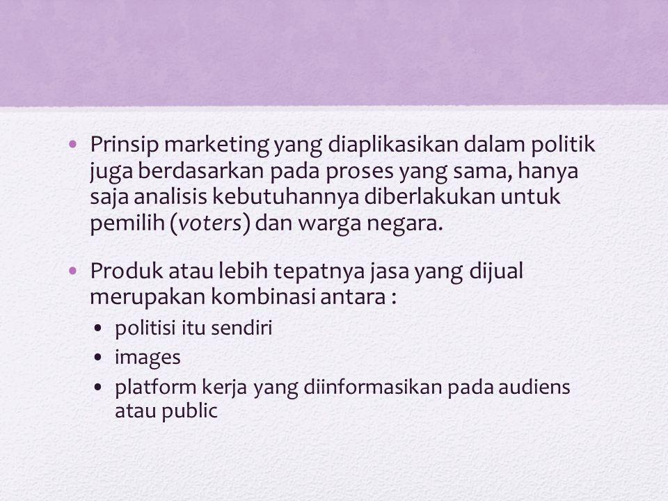 Marketing politik Marketing : proses menyeleksi, menganalisis kebutuhan customer dan mengembangkan inovasi produk atau jasa Beda marketing berbasis bisnis & politik : Bisnis – orientasi keuntungan, konsumennya pengguna, produk : brand Politik – orientasi value / nilai janji kebijakan yang akan dihasilkan, konsumennya voters dan warga negara, produknya : politisi, images, platform kerja