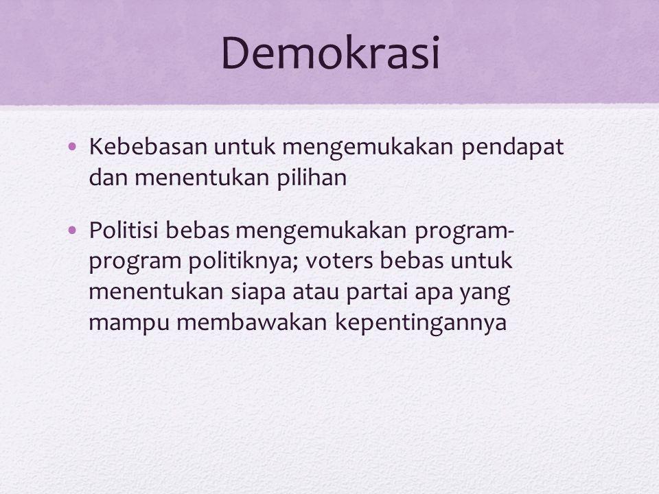 Demokrasi Kebebasan untuk mengemukakan pendapat dan menentukan pilihan Politisi bebas mengemukakan program- program politiknya; voters bebas untuk men