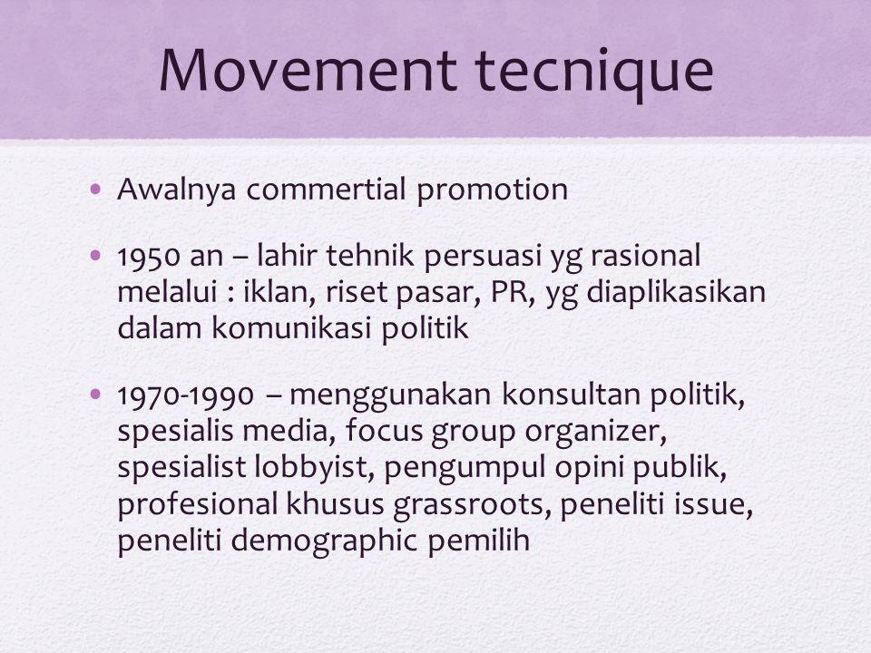 Movement tecnique Awalnya commertial promotion 1950 an – lahir tehnik persuasi yg rasional melalui : iklan, riset pasar, PR, yg diaplikasikan dalam ko