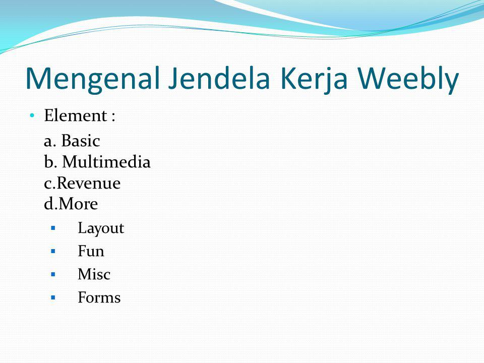 Mengenal Jendela Kerja Weebly a.Favorites b.Design Options – Site Title – Paragraph Title – Paragraph Text – Links c.All Themes
