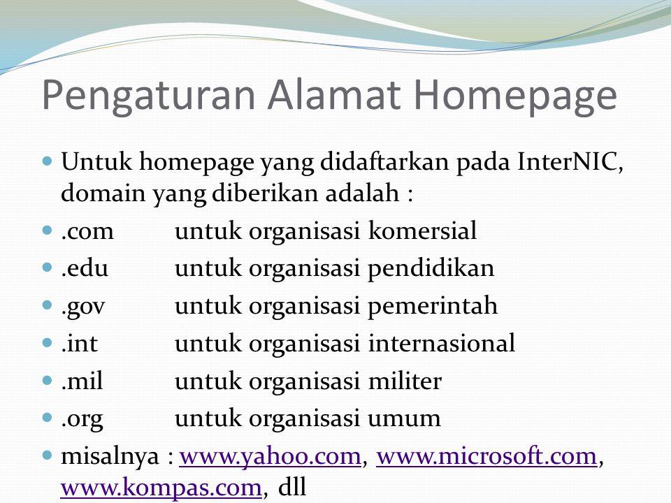 Pengaturan Alamat Homepage Untuk homepage yang didaftarkan pada InterNIC, domain yang diberikan adalah :.com untuk organisasi komersial.eduuntuk organ