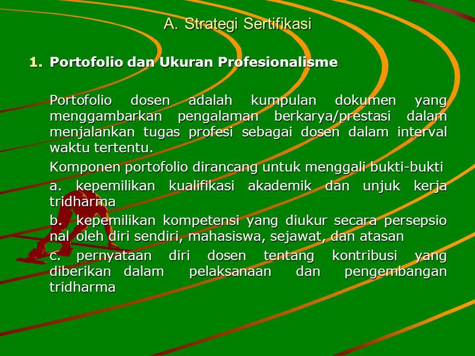 A.Strategi Sertifikasi 1.Portofolio dan Ukuran Profesionalisme Portofolio dosen adalah kumpulan dokumen yang menggambarkan pengalaman berkarya/prestas