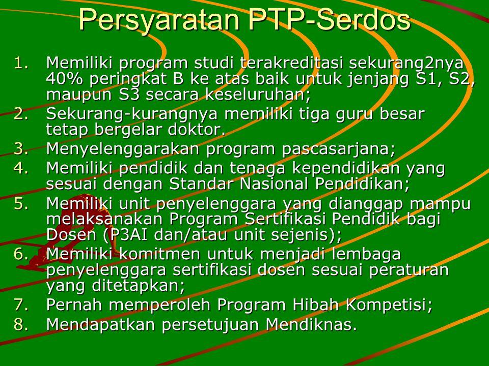 Persyaratan PTP-Serdos 1.Memiliki program studi terakreditasi sekurang2nya 40% peringkat B ke atas baik untuk jenjang S1, S2, maupun S3 secara keselur