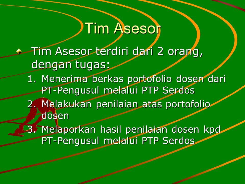Tim Asesor Tim Asesor terdiri dari 2 orang, dengan tugas: 1.Menerima berkas portofolio dosen dari PT-Pengusul melalui PTP Serdos 2.Melakukan penilaian