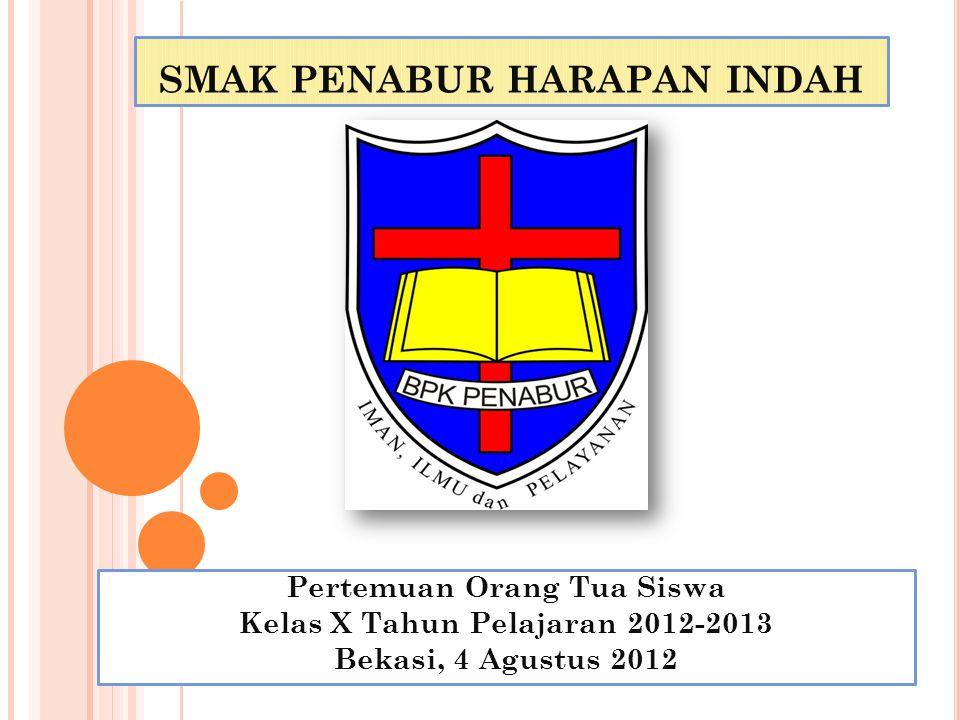 SMAK PENABUR HARAPAN INDAH Pertemuan Orang Tua Siswa Kelas X Tahun Pelajaran 2012-2013 Bekasi, 4 Agustus 2012