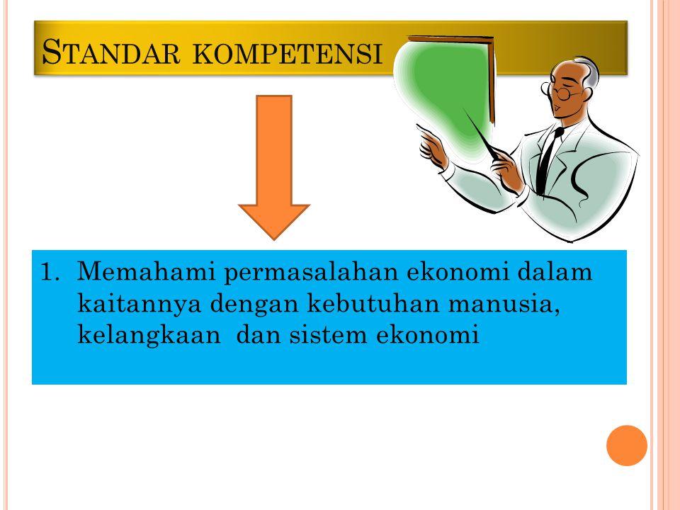 S TANDAR KOMPETENSI 1.Memahami permasalahan ekonomi dalam kaitannya dengan kebutuhan manusia, kelangkaan dan sistem ekonomi