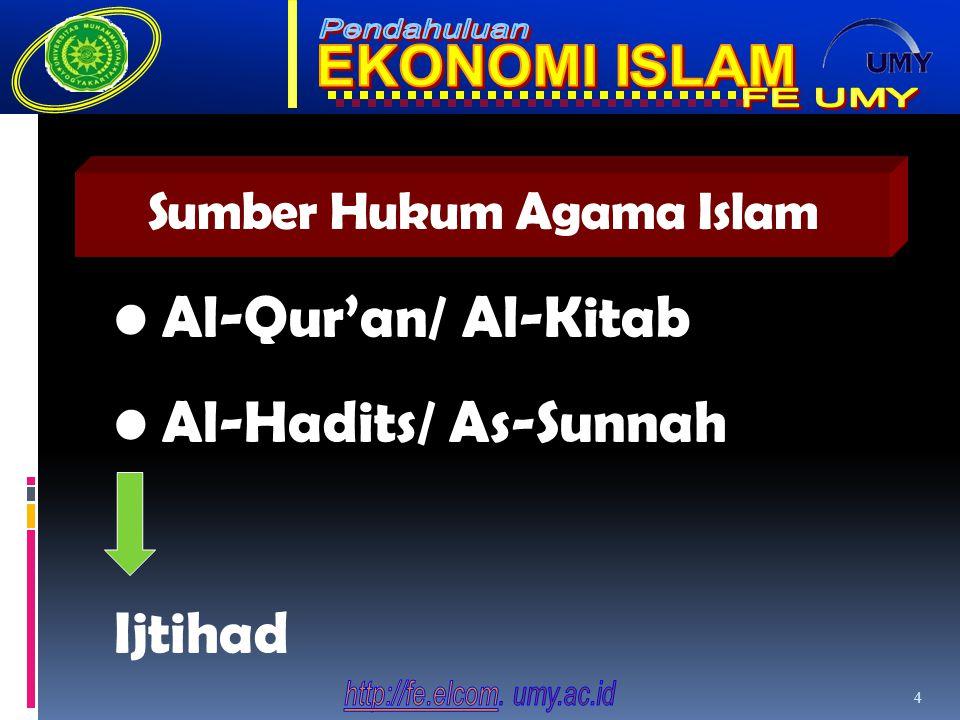 Sumber Hukum Agama Islam 4 Al-Qur'an/ Al-Kitab Al-Hadits/ As-Sunnah Ijtihad