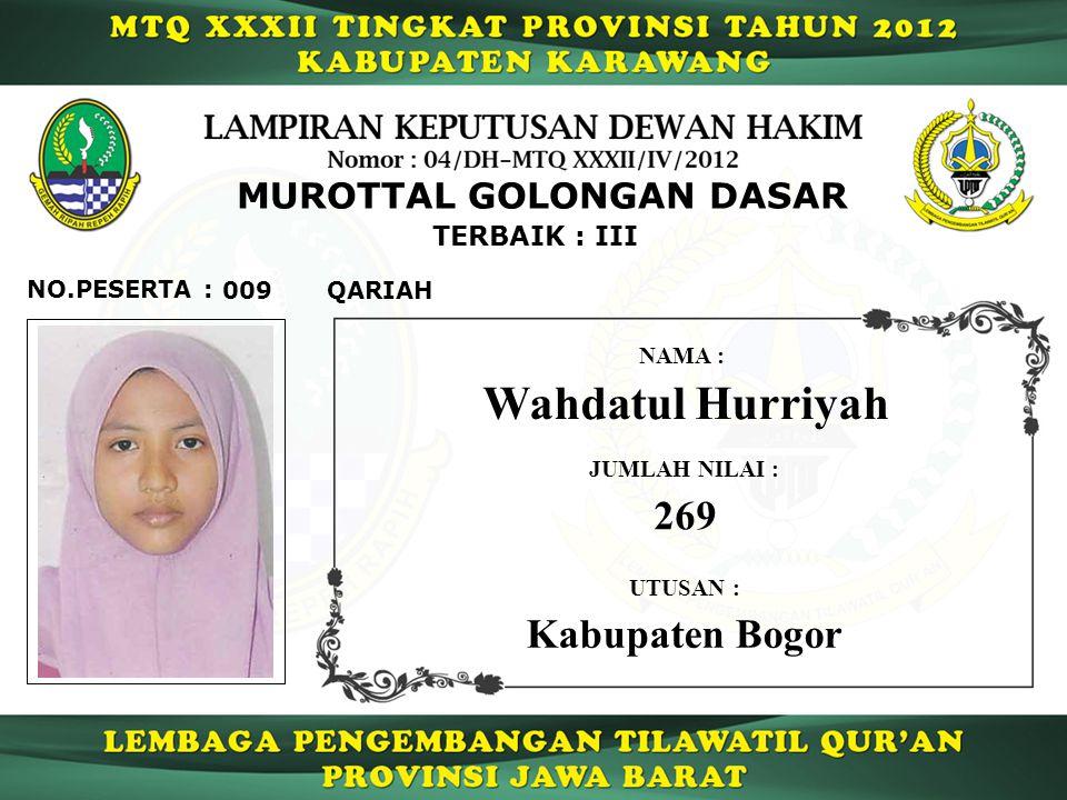 MUROTTAL GOLONGAN DASAR 009 TERBAIK : III QARIAH NO.PESERTA : Wahdatul Hurriyah NAMA : UTUSAN : Kabupaten Bogor JUMLAH NILAI : 269