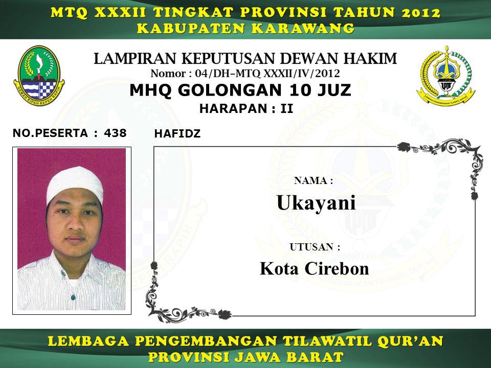 438 HARAPAN : II NO.PESERTA : MHQ GOLONGAN 10 JUZ HAFIDZ Ukayani NAMA : UTUSAN : Kota Cirebon