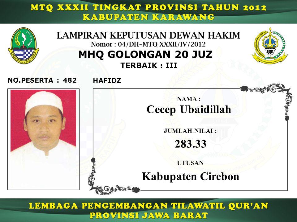 482 TERBAIK : III NO.PESERTA : MHQ GOLONGAN 20 JUZ HAFIDZ Cecep Ubaidillah JUMLAH NILAI : 283.33 UTUSAN NAMA : Kabupaten Cirebon