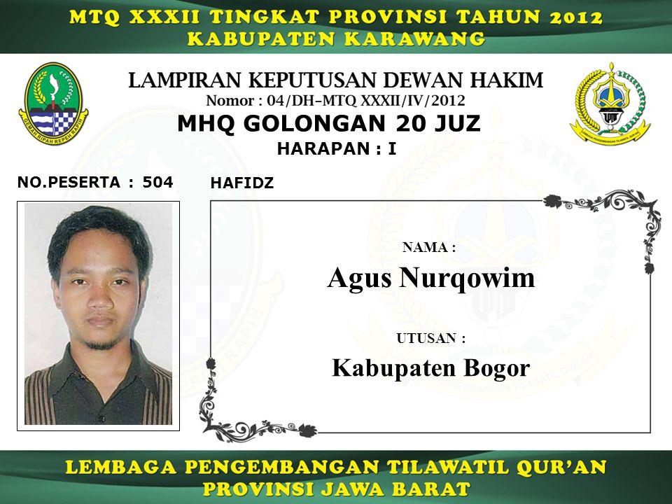 504 HARAPAN : I NO.PESERTA : MHQ GOLONGAN 20 JUZ HAFIDZ Agus Nurqowim NAMA : UTUSAN : Kabupaten Bogor
