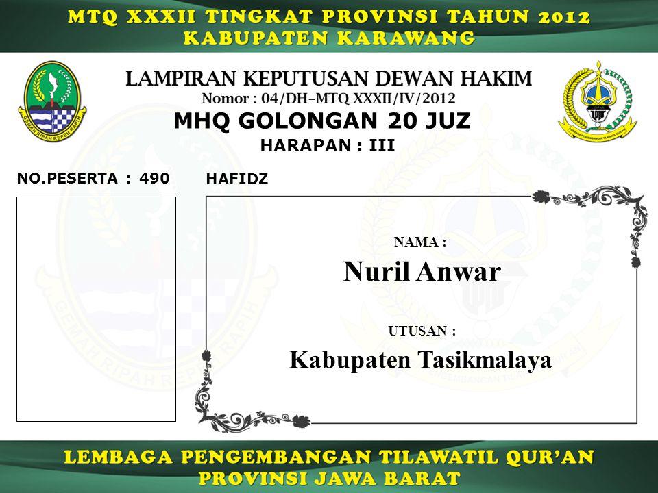 490 HARAPAN : III NO.PESERTA : MHQ GOLONGAN 20 JUZ HAFIDZ Nuril Anwar NAMA : UTUSAN : Kabupaten Tasikmalaya