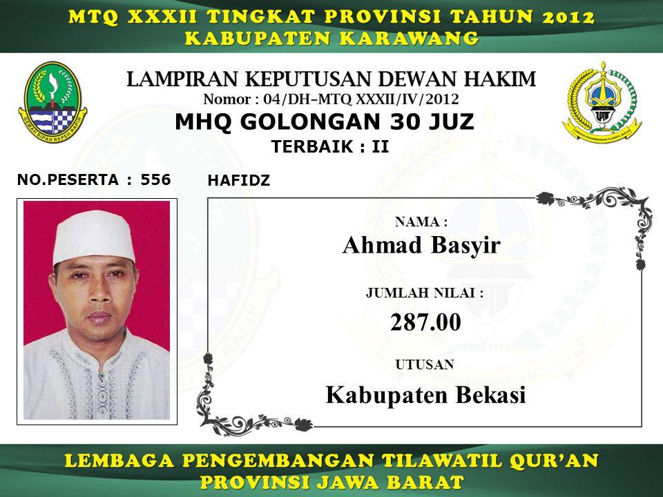 556 TERBAIK : II NO.PESERTA : MHQ GOLONGAN 30 JUZ HAFIDZ Ahmad Basyir JUMLAH NILAI : 287.00 UTUSAN NAMA : Kabupaten Bekasi