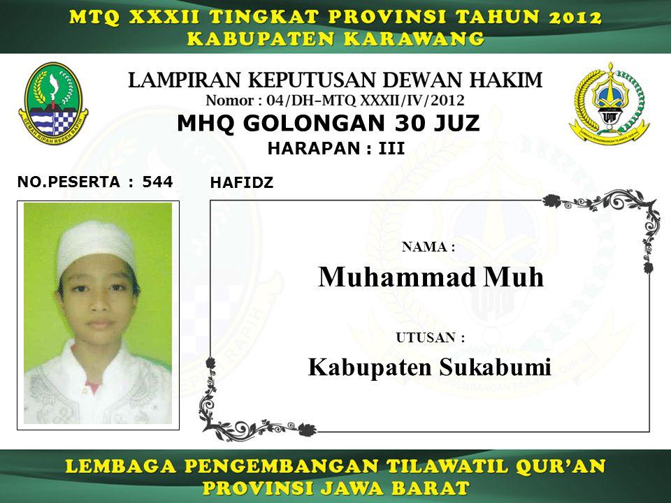 544 HARAPAN : III NO.PESERTA : MHQ GOLONGAN 30 JUZ HAFIDZ Muhammad Muh NAMA : UTUSAN : Kabupaten Sukabumi