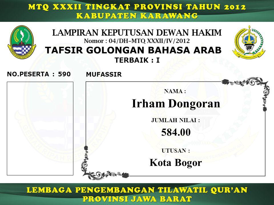 TAFSIR GOLONGAN BAHASA ARAB TERBAIK : I 590 MUFASSIR NO.PESERTA : Irham Dongoran NAMA : UTUSAN : Kota Bogor JUMLAH NILAI : 584.00