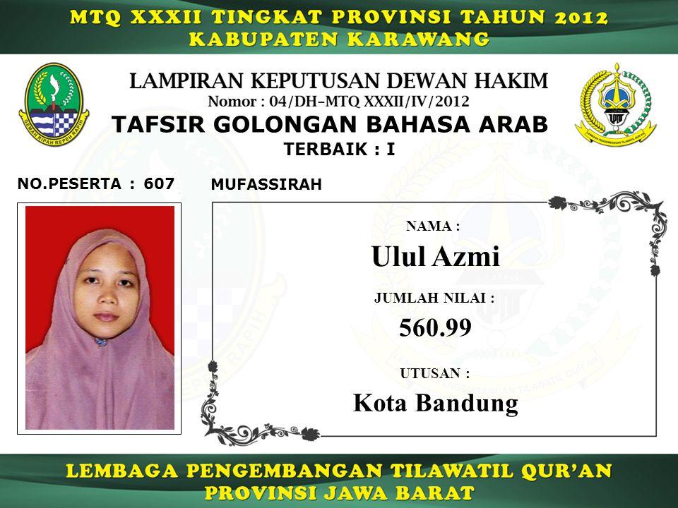 TERBAIK : I 607NO.PESERTA : TAFSIR GOLONGAN BAHASA ARAB MUFASSIRAH Ulul Azmi NAMA : UTUSAN : Kota Bandung JUMLAH NILAI : 560.99