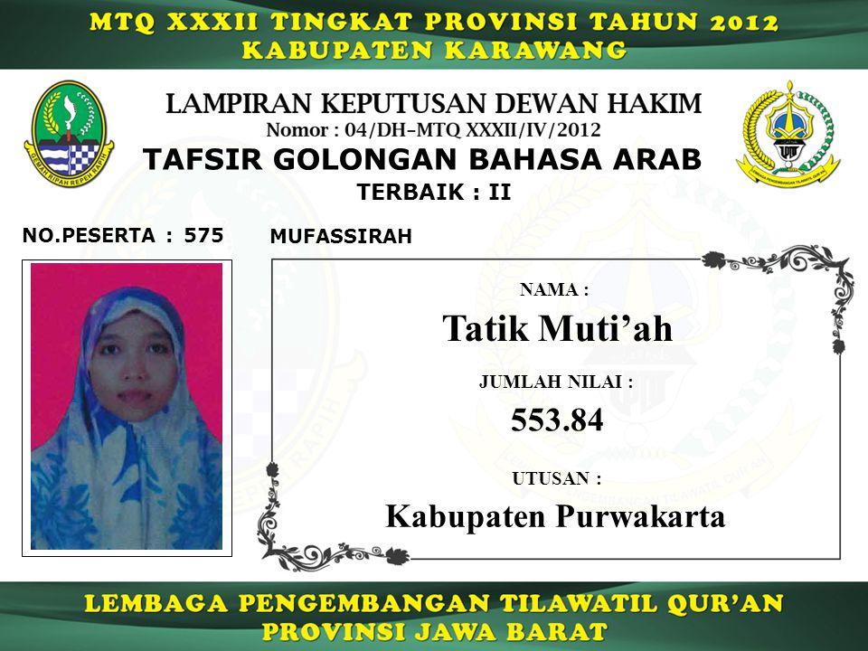 575 TERBAIK : II NO.PESERTA : TAFSIR GOLONGAN BAHASA ARAB MUFASSIRAH Tatik Muti'ah NAMA : UTUSAN : Kabupaten Purwakarta JUMLAH NILAI : 553.84
