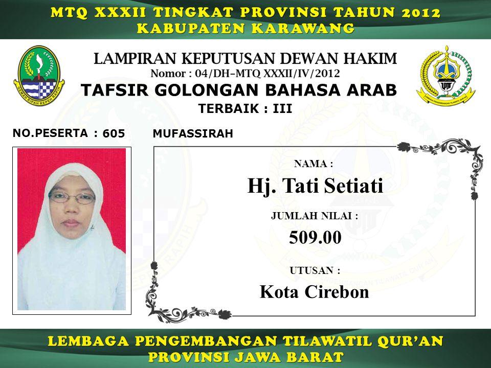 605 TERBAIK : III NO.PESERTA : TAFSIR GOLONGAN BAHASA ARAB MUFASSIRAH Hj.