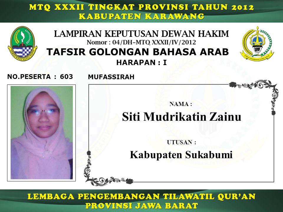 603 HARAPAN : I NO.PESERTA : TAFSIR GOLONGAN BAHASA ARAB MUFASSIRAH Siti Mudrikatin Zainu NAMA : UTUSAN : Kabupaten Sukabumi