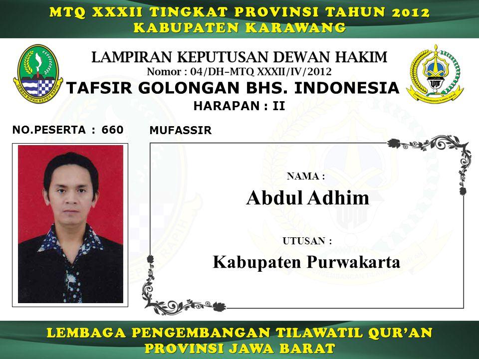 660 HARAPAN : II NO.PESERTA : TAFSIR GOLONGAN BHS.