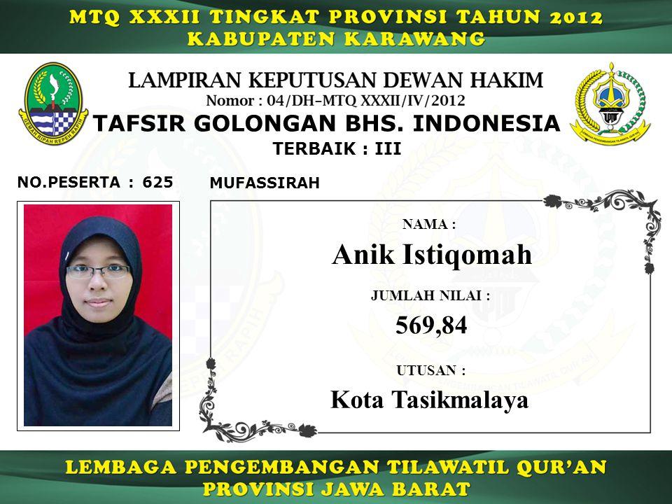 TERBAIK : III TAFSIR GOLONGAN BHS.
