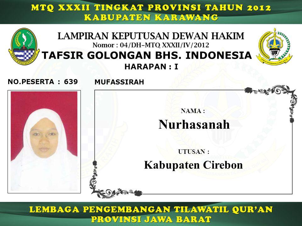 639 HARAPAN : I NO.PESERTA : TAFSIR GOLONGAN BHS.