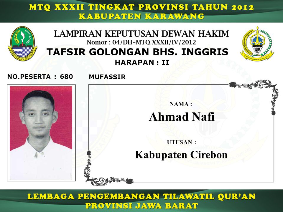 680 HARAPAN : II NO.PESERTA : TAFSIR GOLONGAN BHS.