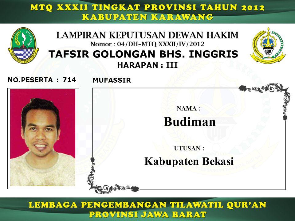 714 HARAPAN : III NO.PESERTA : TAFSIR GOLONGAN BHS.