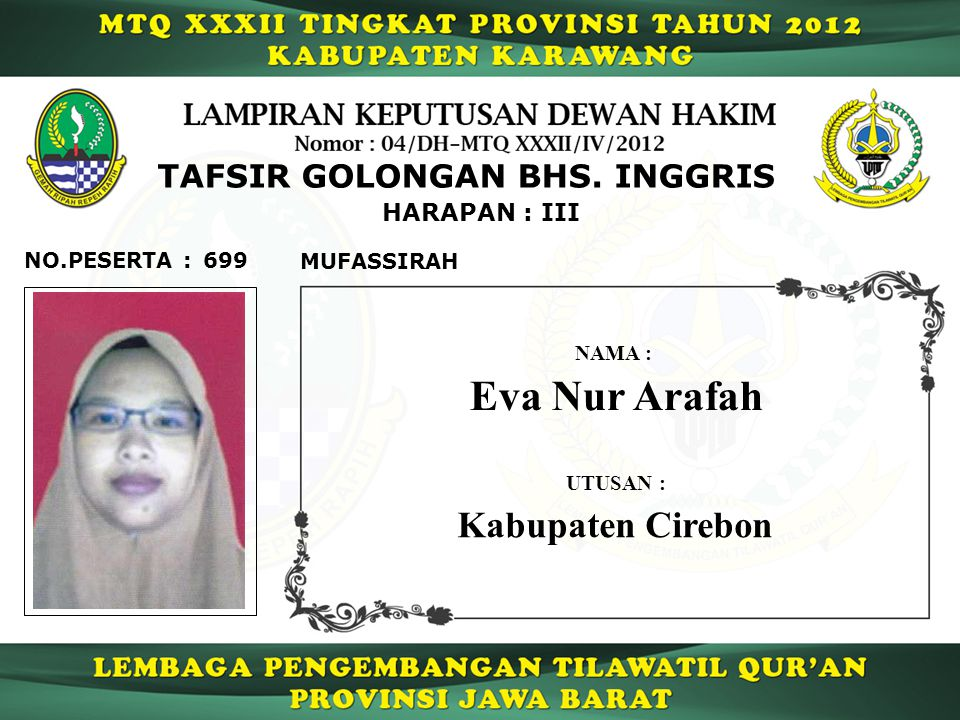 699 HARAPAN : III NO.PESERTA : TAFSIR GOLONGAN BHS.