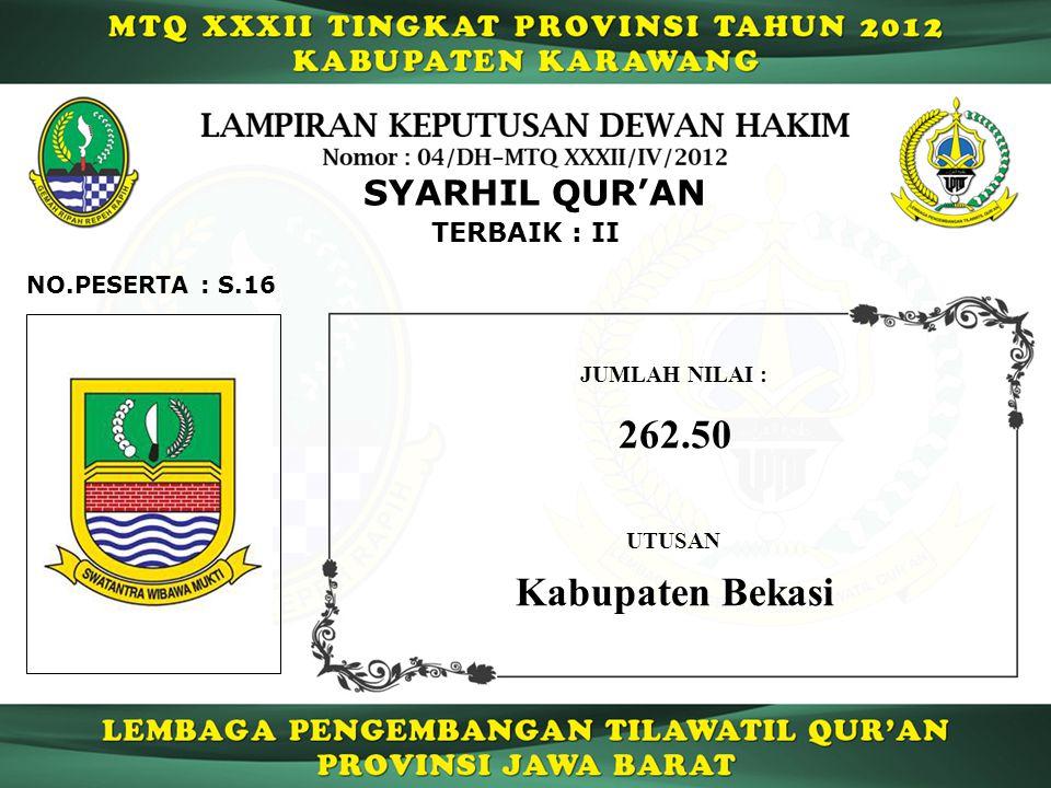 S.16 TERBAIK : II NO.PESERTA : SYARHIL QUR'AN JUMLAH NILAI : 262.50 UTUSAN Kabupaten Bekasi