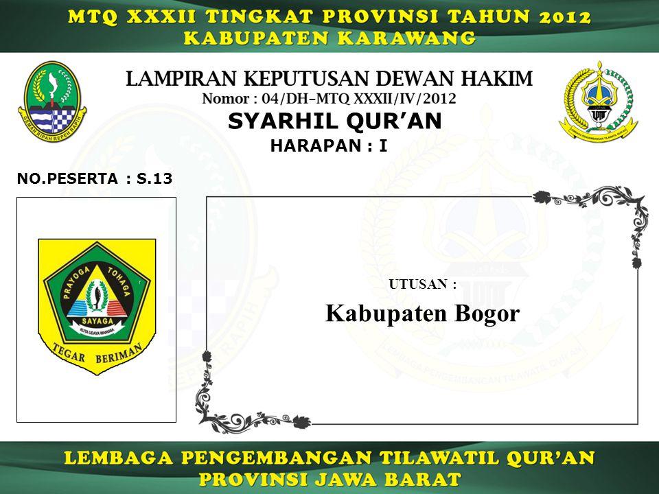 HARAPAN : I SYARHIL QUR'AN S.13NO.PESERTA : UTUSAN : Kabupaten Bogor