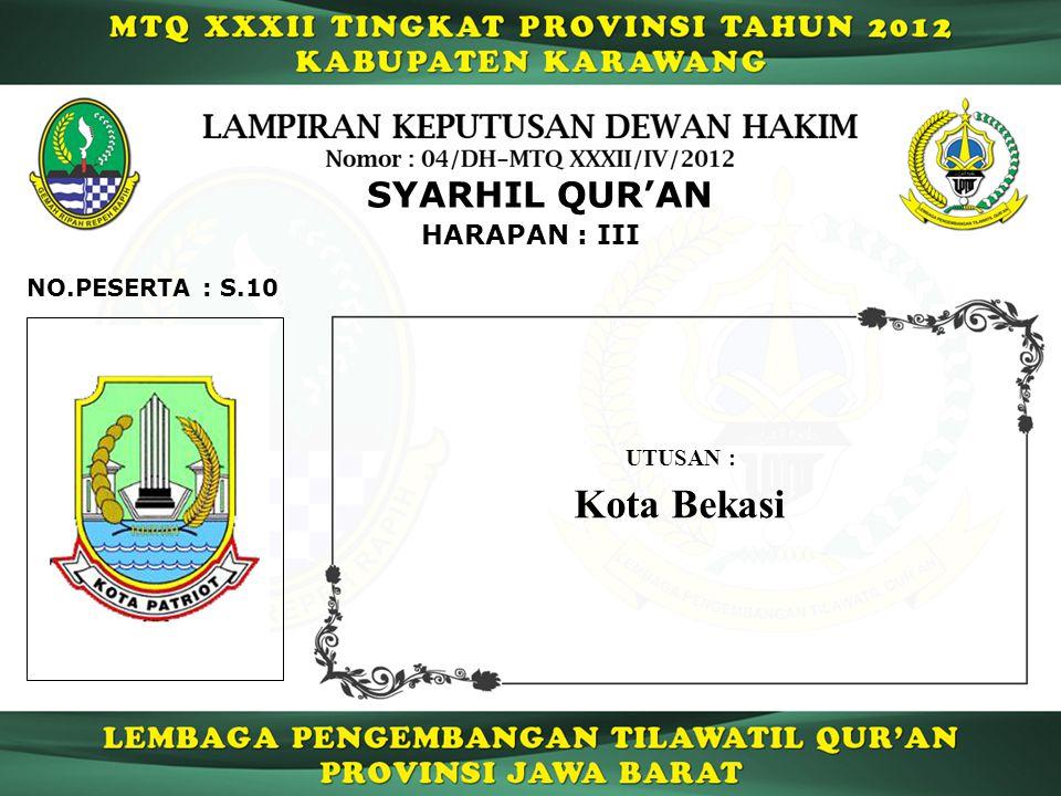 HARAPAN : III SYARHIL QUR'AN S.10NO.PESERTA : UTUSAN : Kota Bekasi