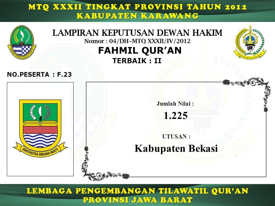 TERBAIK : II FAHMIL QUR'AN F.23NO.PESERTA : UTUSAN : Kabupaten Bekasi Jumlah Nilai : 1.225