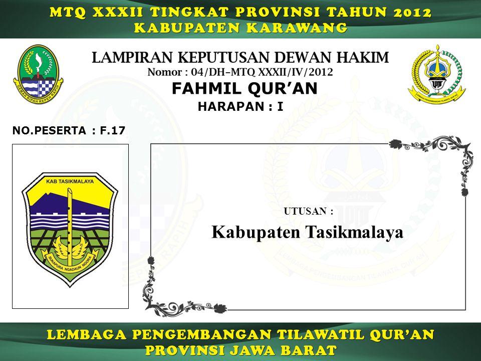 HARAPAN : I FAHMIL QUR'AN F.17NO.PESERTA : UTUSAN : Kabupaten Tasikmalaya