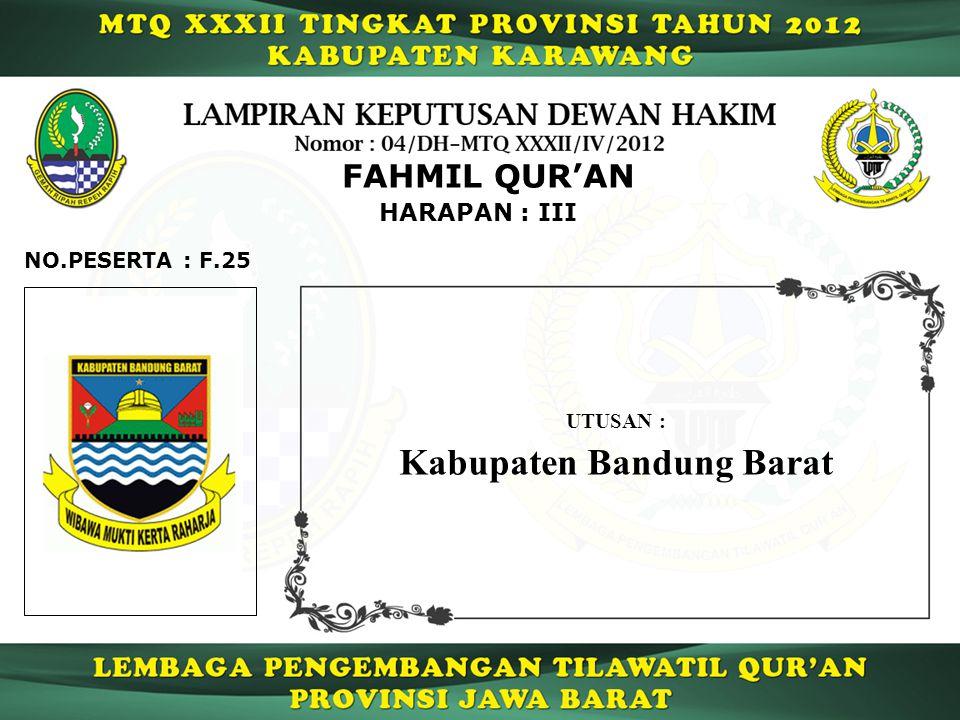 HARAPAN : III FAHMIL QUR'AN F.25NO.PESERTA : UTUSAN : Kabupaten Bandung Barat