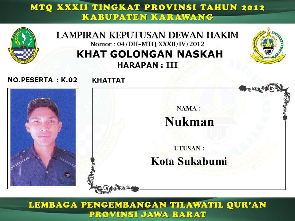 K.02 HARAPAN : III NO.PESERTA : KHAT GOLONGAN NASKAH KHATTAT Nukman NAMA : UTUSAN : Kota Sukabumi