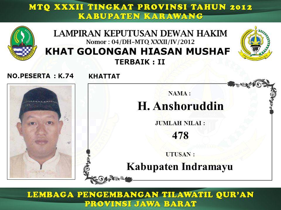 K.74 TERBAIK : II NO.PESERTA : KHAT GOLONGAN HIASAN MUSHAF KHATTAT H.